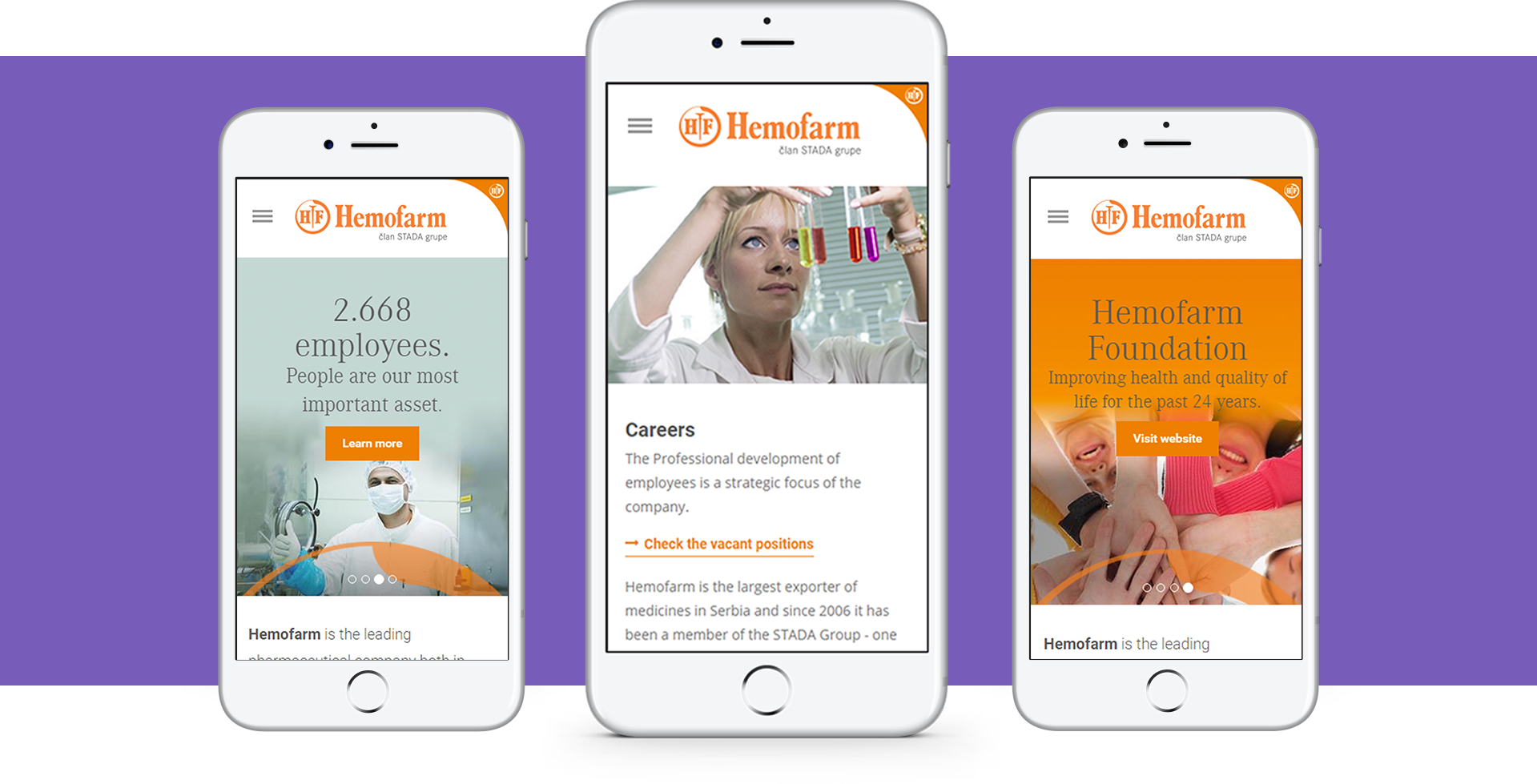 Hemofarm portal mobile preview