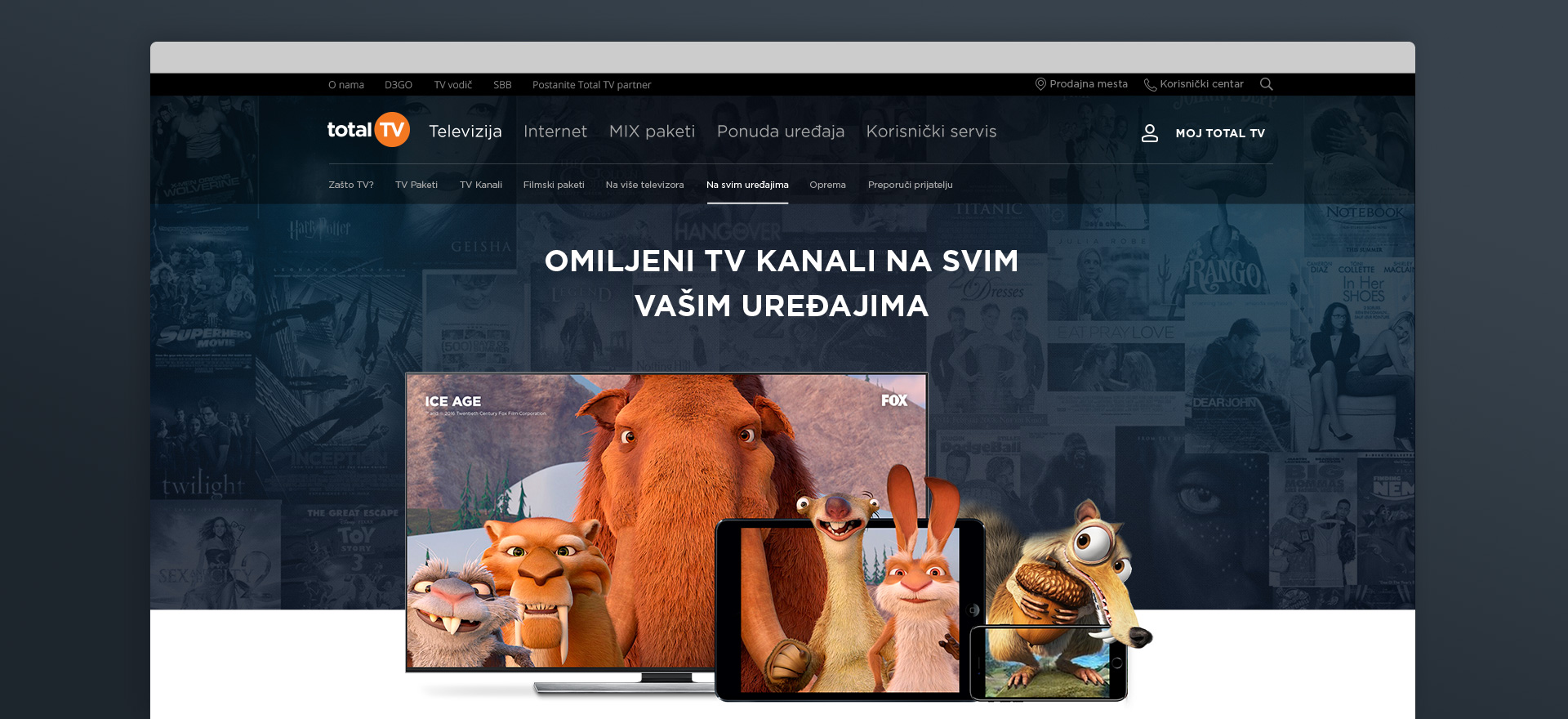 Total TV home page preview