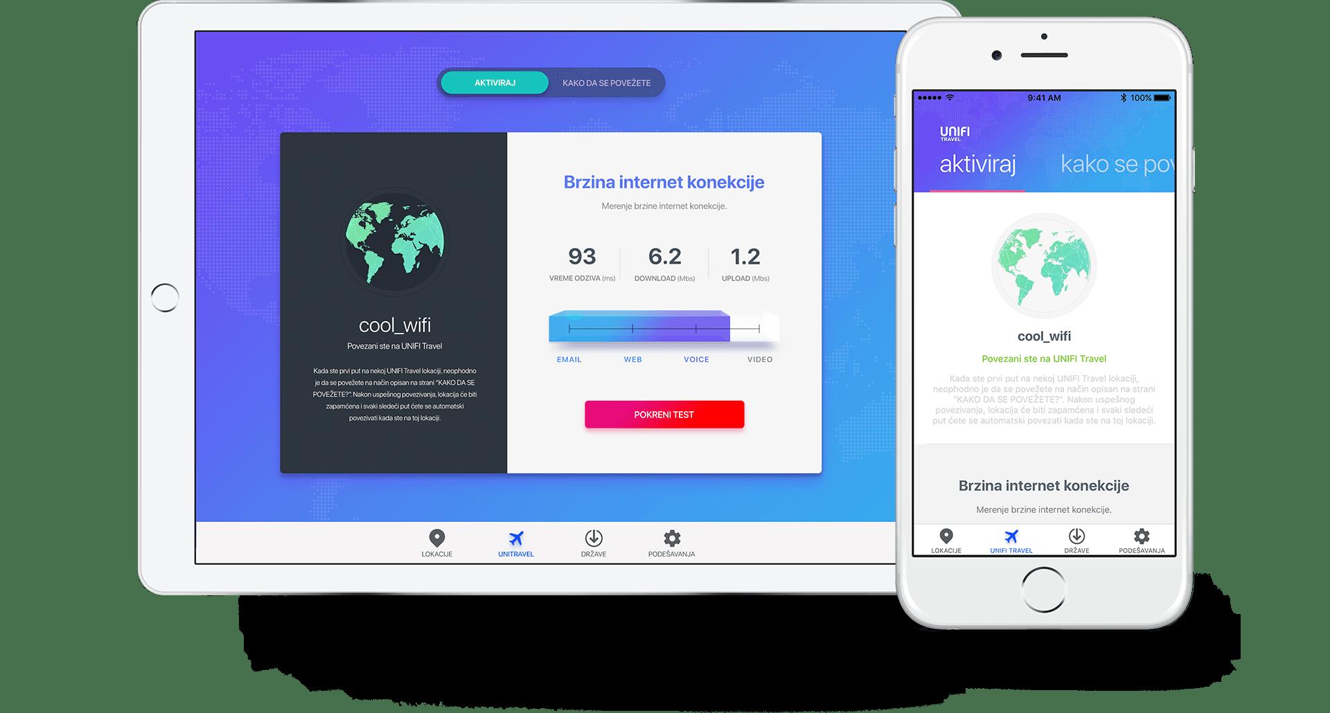 UNIFI Travel app internet connection